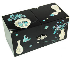 Wooden jewellery box, mother of pearl gift, Porcelain