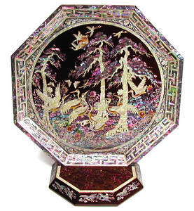 Octagonal wooden display tray, mother of pearl gift, red cranes