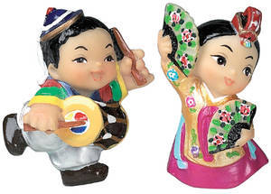 Marble oriental doll fridge magnet, dancing couple, handmade gift