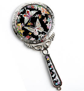 Handheld hand mirror, mother of pearl craft, butterflies