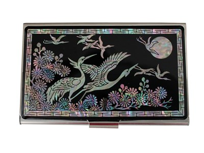Business card holder, mother of pearl inlaid, flying crane & moon