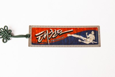 Taekwondo bookmark, mother of pearl gift. Flying sidekick