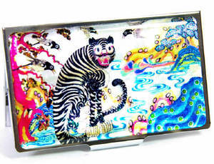 Business card holder, credit card case, mother of pearl gift, Tiger