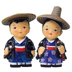 Oriental figurine, handmade Japanese Samurai couple figurines gift set