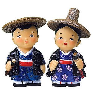 Oriental figurine, handmade Japanese Samurai couple figurines gift set