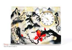 Mother of pearl desk clock, handmade gift, Oriental Scenery