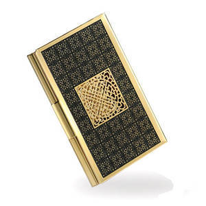Gold plated business card holder, credit card case, handmade designer gift
