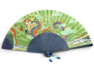 Foldable hand fan, bamboo & green silk in dragon