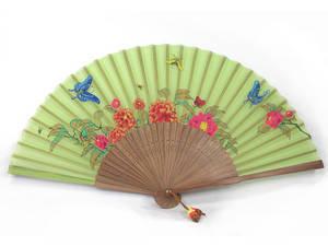 Handmade luxury hand fan, bamboo, green silk