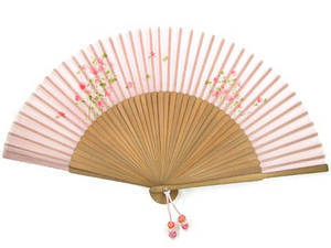 hand held fan with bamboo & silk, pink flower, handmade