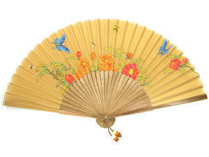 Hand fan with case, bamboo and light brown silk, handmade gift