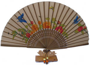 Hand held fan, flower and butterfly in yellow silk
