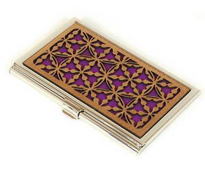 Designer business card holder, luxury credit card holder, gold & purple