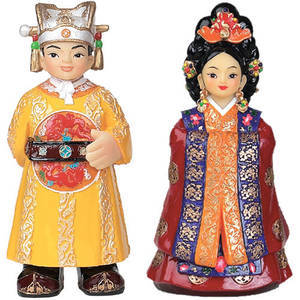 Oriental figurine, hand painted King and Queen figurines gift