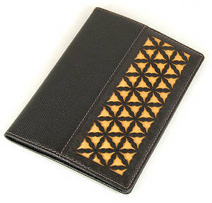 Leather passport wallet, handmade designer gift, dark gold silk