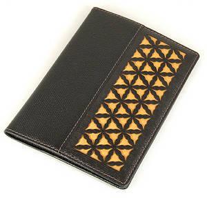 Leather passport wallet, handmade designer gift, dark gold silk