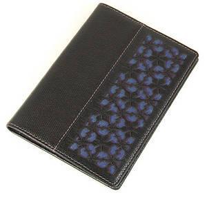 Genuine leather passport wallet, handmade designer gift, navy silk