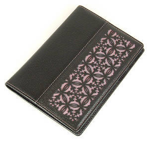 Black leather passport wallet, handmade designer gift, mauve navy silk