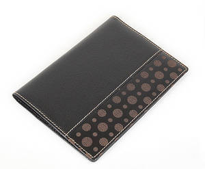 Black leather passport wallet cover, oriental lucky symbol