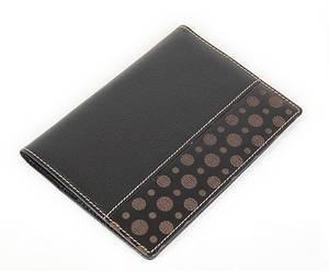 Black leather passport wallet, handmade designer gift, oriental lucky