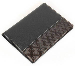 Black leather passport wallet, handmade designer gift, oriental lucky character