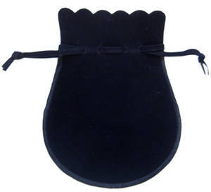 Velvet jewellery pouch, black drawstring jewelry gift bag, large