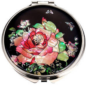 Hand mirror, handmade mother of pearl gift, compact mirror, rose