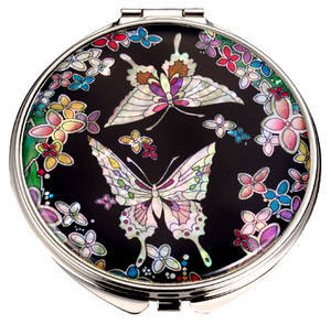 Mother of pearl hand mirror, compact mirror, butterflies and flowers