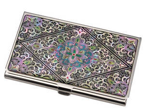 Oriental business card holder, credit card case, mother of pearl gift, Dangcho2