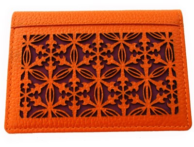 Orange leather wallet for business cards, credit cards