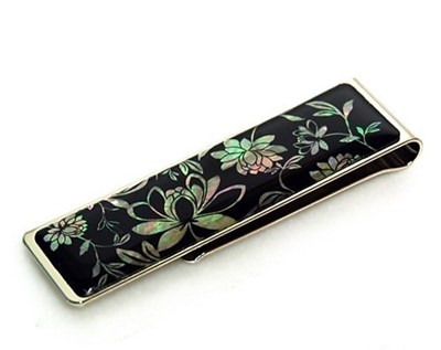 Money Clip paper clip bookmark, mother of pearl gift. Peony