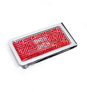 Stainless steel money clip, mother of pearl handmade gift, red