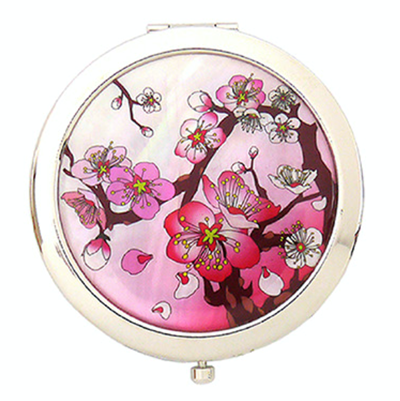 Compact mirror, dual pocket mirror, mother of pearl gift, pink cherry blossom