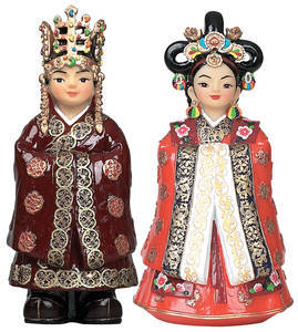 Set of oriental marble doll, King and Queen, handmade gift
