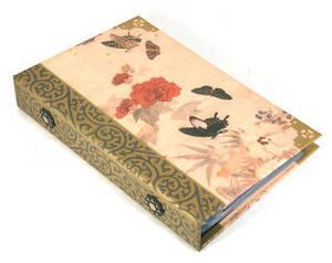 Business card album, Handmade oriental ringbinder, flower & butterfly