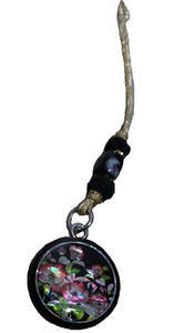 Handbag accessory, dangly mobile phone charm, wood, mother of pearl, cloisonette