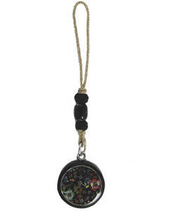 Handbag charm, dangly mobile phone accessory, wood, mother of pearl, cloisonette