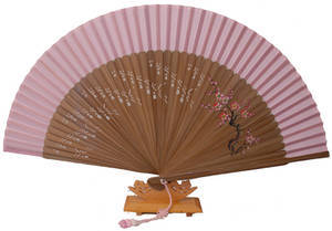 Folding hand fan with dark colored bamboo and silk, handmade gift