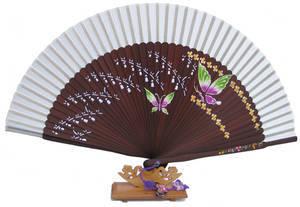 Bamboo and Silk hand fan, 2 butterflies, handmade gift