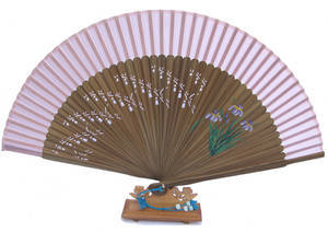 Hand fan, bamboo and pink silk, handmade gift, Iris