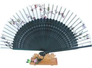 Handheld Hand fan, dark green bamboo & white silk, pocket size