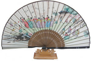 Hand fan, bamboo & silk, oriental drawing traditions playing