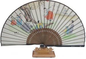 Hand fan, bamboo & silk, oriental drawing 2, handmade gift