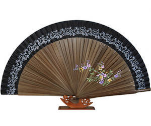 Folding bamboo hand fan, black silk