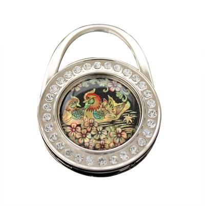 Handbag holder, mother of pearl gift, mandarin duck, cubics