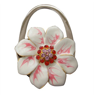Handbag holder, white flower with red pink cubics