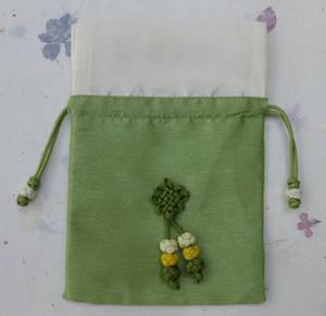 Silk jewellery pouch, travel jewelry bag, Mustard green & beige