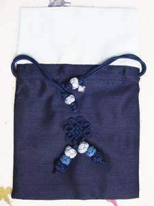 Silk jewellery pouch for travel, handmade oriental gift, Navy