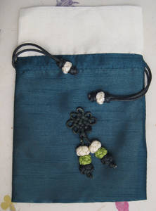Silk jewellery pouch, travel jewelry bag, handmade oriental gift, green