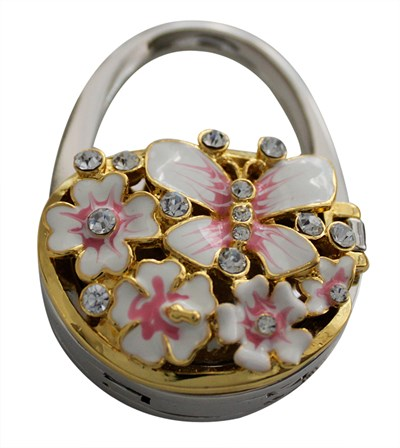 Handbag holder with mirror, pink enamel flower and butterfly